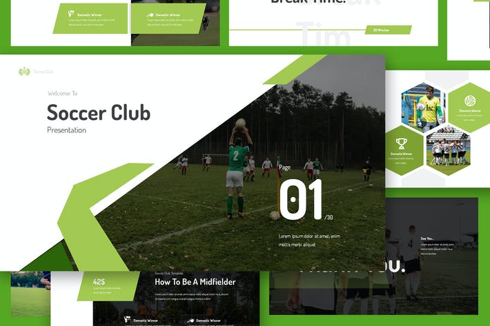 Thumbnail for Soccer Club Google Präsentationen Präsentation