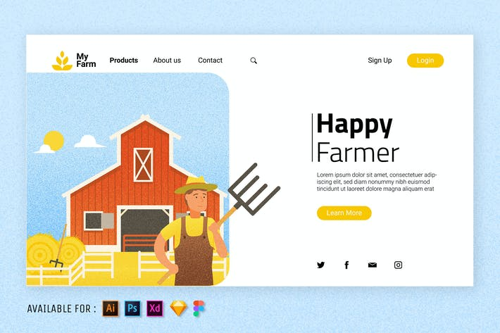 Thumbnail for Happy Farmer - Web Illustration