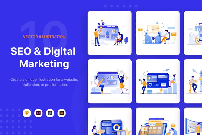 Thumbnail for SEO & Digital Marketing Illustrations