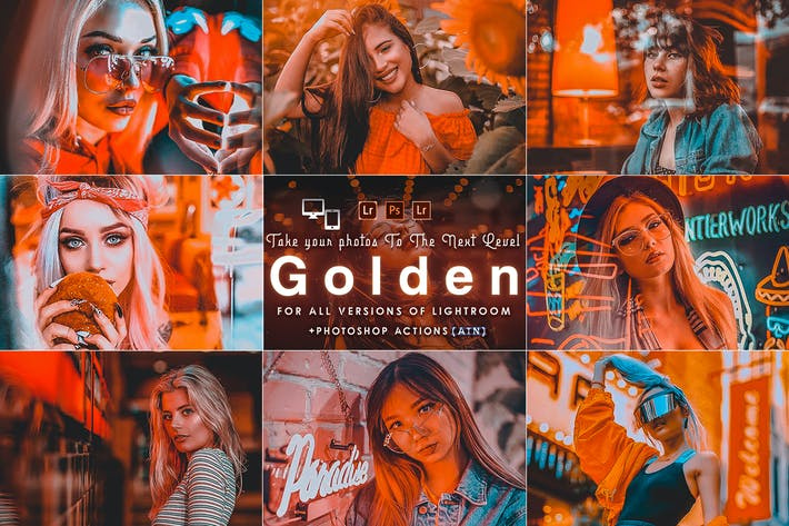 Thumbnail for Golden Portrait (  Actions and Presets )