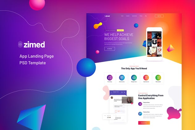 Zimed - App Landing Page PSD Template