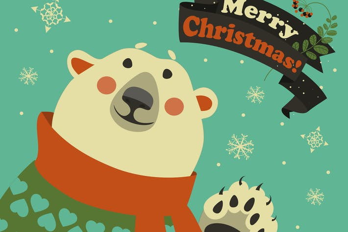 Thumbnail for Polar bear says hello at vector greeting card