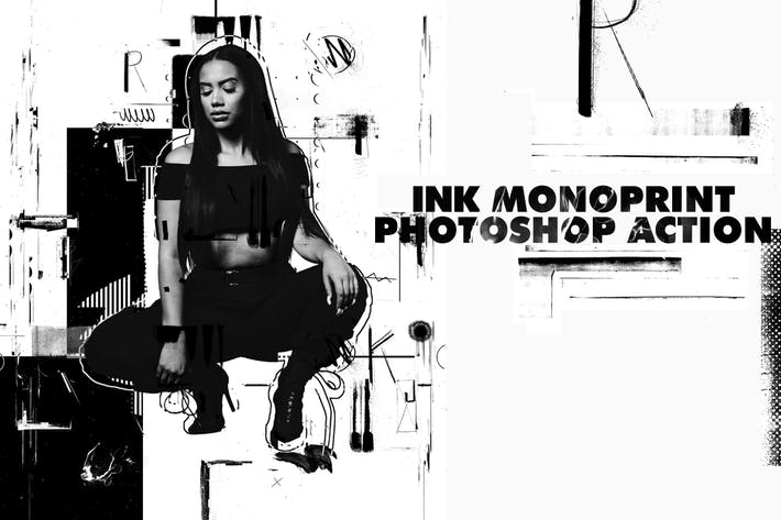 Thumbnail for Ink Monoprint Poster Photoshop Action
