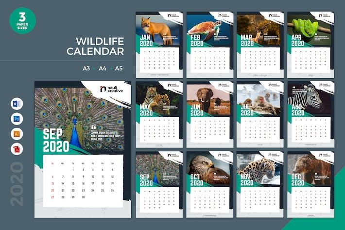 Thumbnail for Wildlife Calendar 2020 Calendar - AI, DOC, PSD