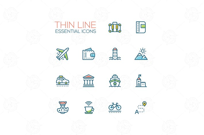 Thumbnail for Travel - modern vector single line icons