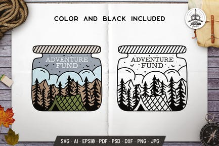 Adventure Jar Camping Design Line Art Badge