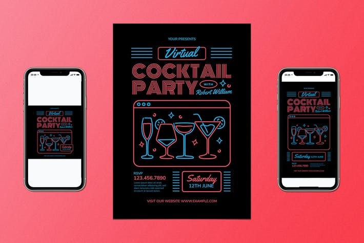 Thumbnail for Virtual Cocktail Party Flyer Set