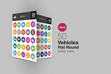 50 Vehicles Glyph Multicolor BG Icons