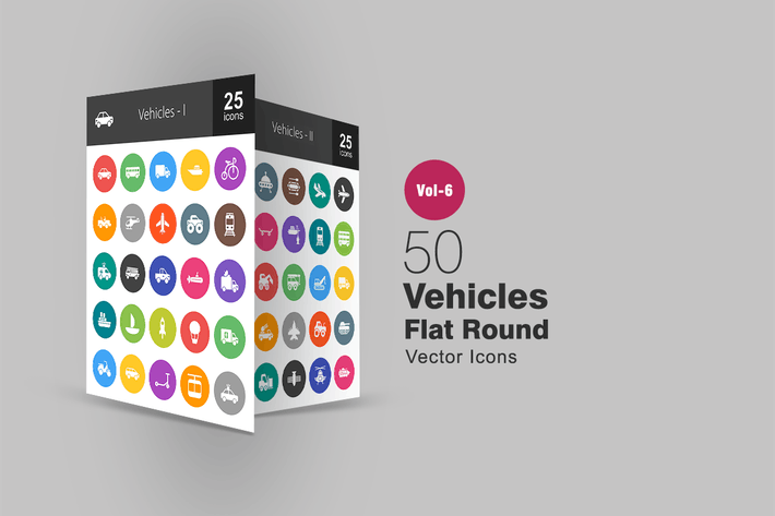 Thumbnail for 50 Vehicles Glyph Multicolor BG Icons