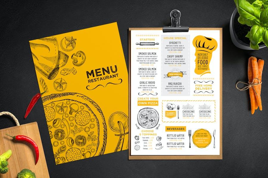 Restaurant Menu Template - Yellow and White Theme