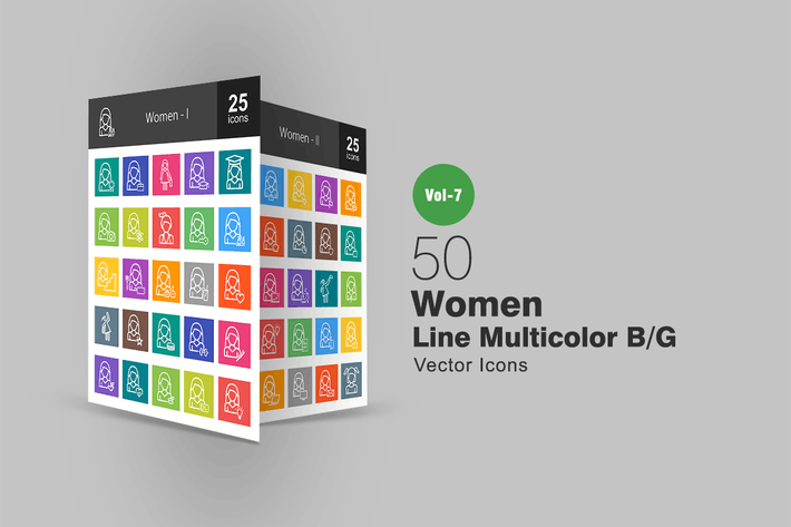 Thumbnail for 50 Women Line Multicolor B/G Icons