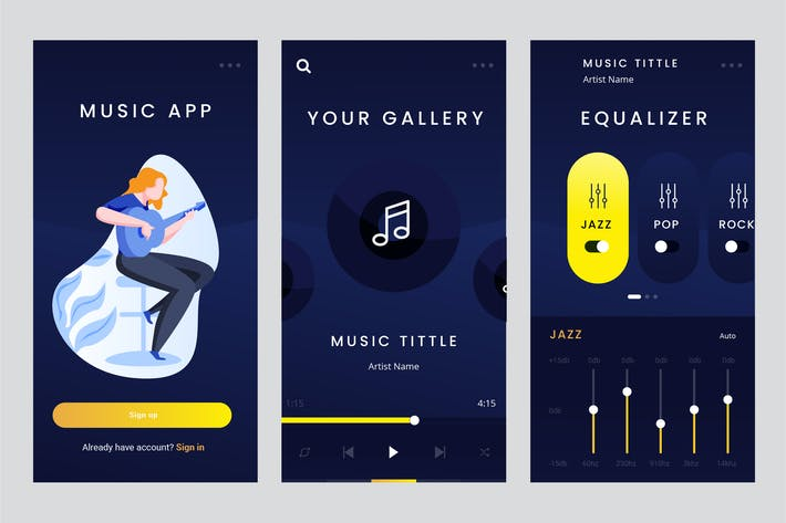 Thumbnail for Mobile Apps Screen For Music Apps PSD and AI