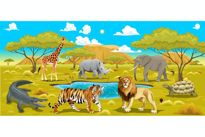 Thumbnail for African Landscape with Animals