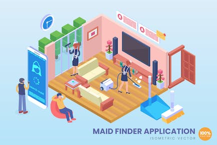 Isometric Maid Finder Application Vector Concept