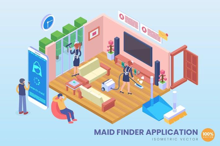 Thumbnail for Concept Vecteur d'application de recherche de femme de ménage isométrique