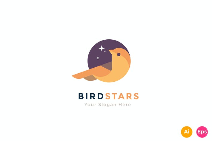 Thumbnail for Bird Star Colorful Animal Logo Template