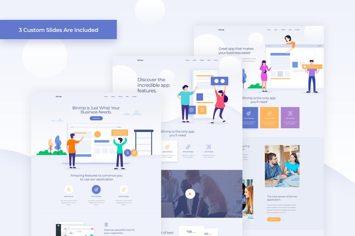 Cover Image For Binmp - App and Software Landing PSD Template
