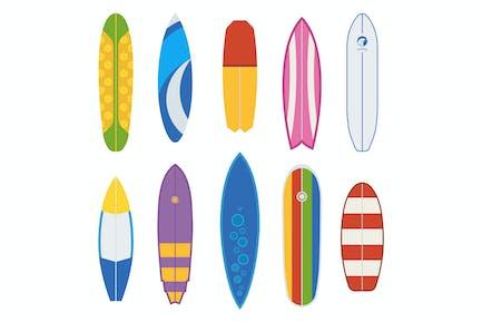 Different Surfboards and Surfing desks