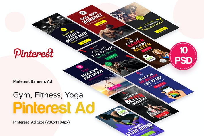 Thumbnail for Gym, Fitness & Yoga Pinterest Ad