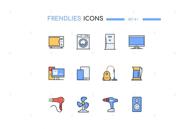 Household and office appliances - line icons