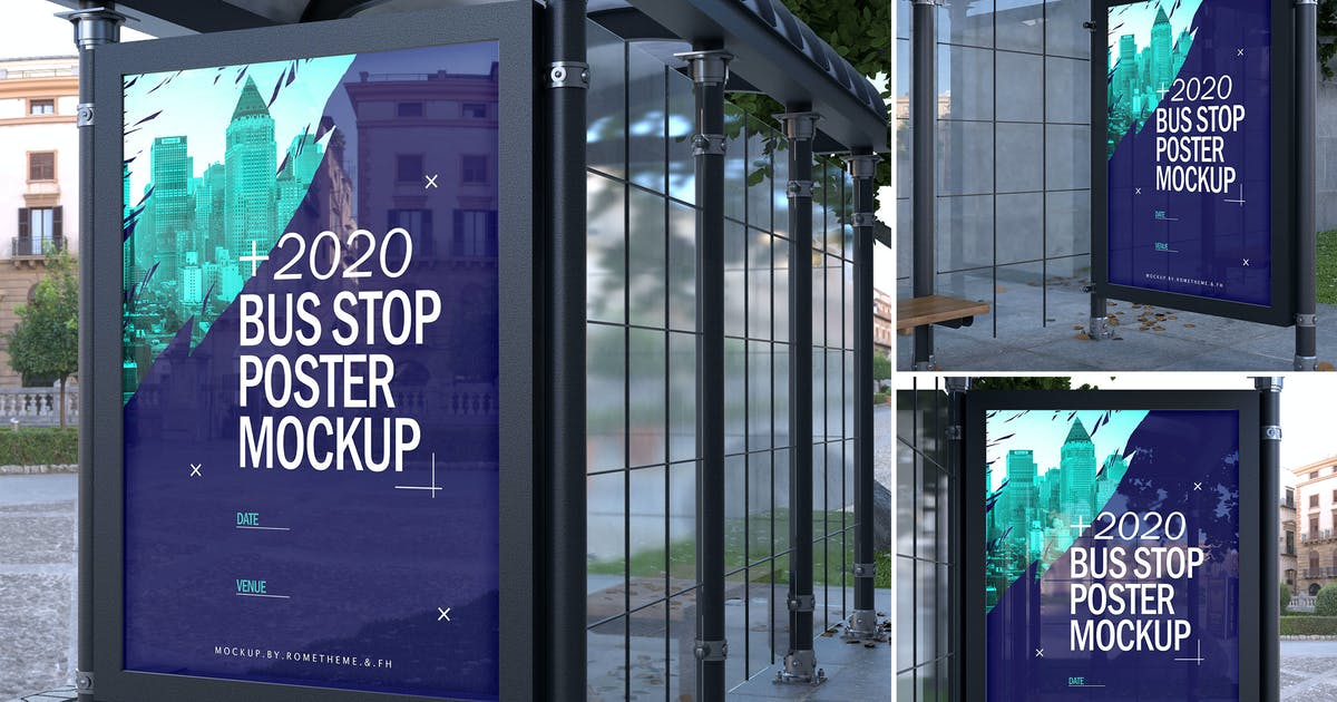 Download Bus Stop Poster - Mockups FH by Rometheme