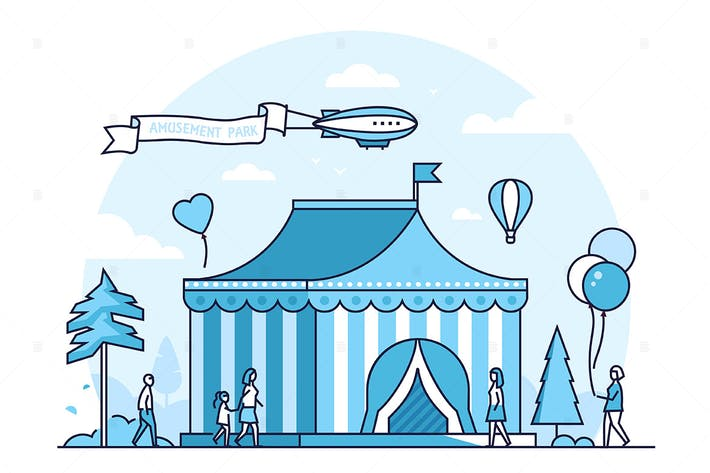 Thumbnail for Circus - line design style vector illustration