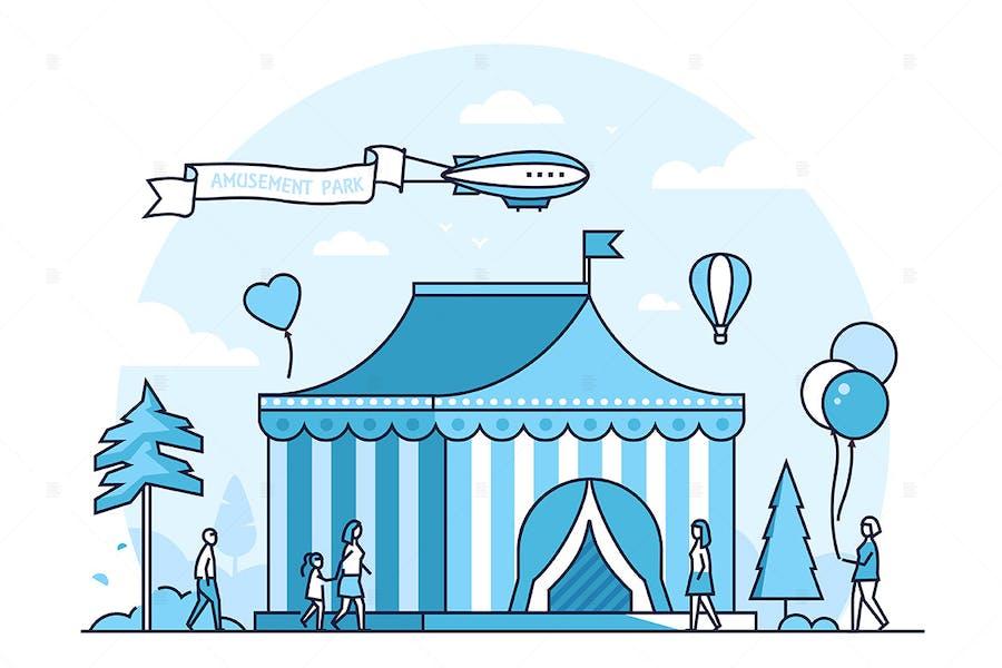 Circus - line design style vector illustration