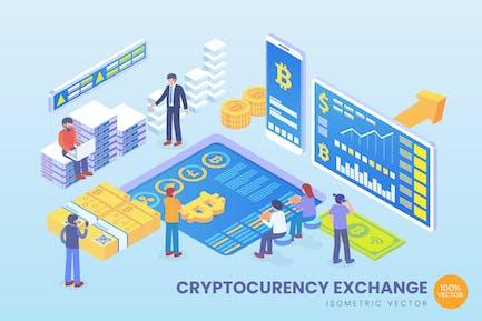 Isometric Cryptocurrency Exchange Vector Concept