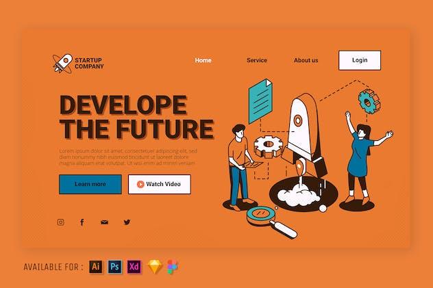 Develope The Future - Web Isometric Illustration
