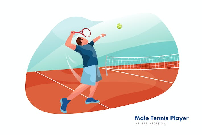 Thumbnail for Male Tennis Player Vector Illustration