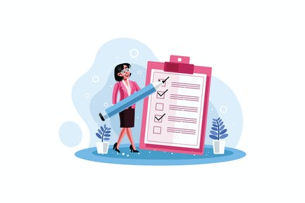 Secretary marked checklist on a clipboard paper