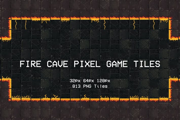 Fire Cave Pixel Game Tiles
