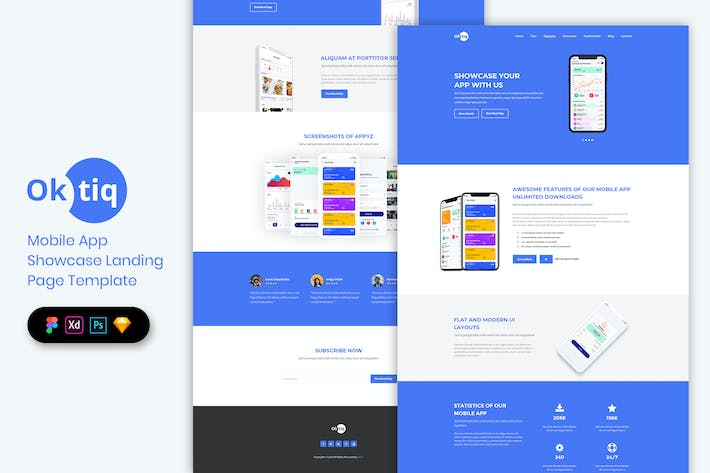 Thumbnail for Mobile App Showcase - Landing Page Template