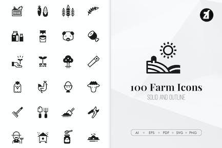 100 Íconos Minimalista de la granja