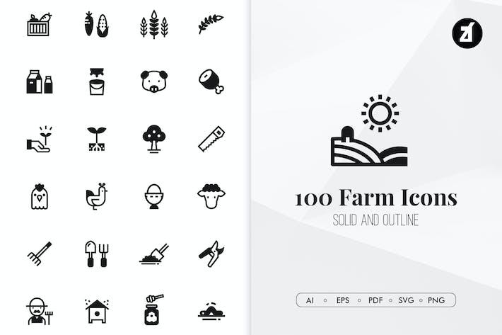 Thumbnail for 100 Íconos Minimalista de la granja