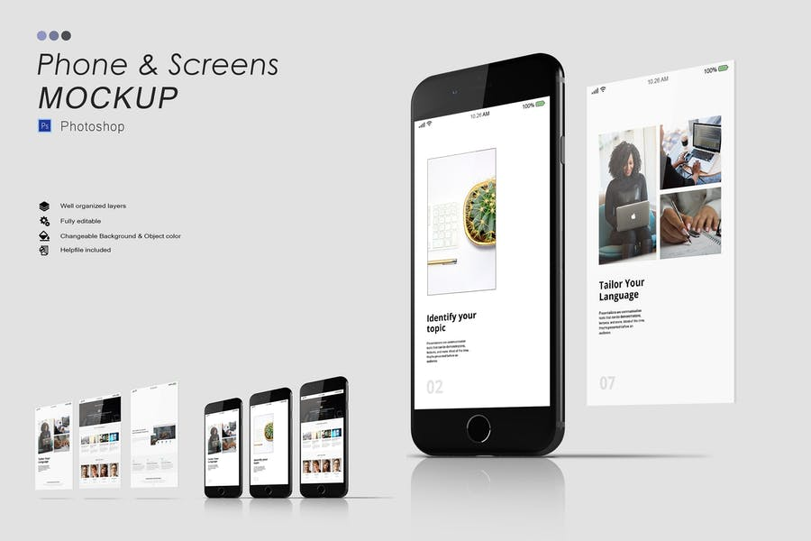 iPhone and Screen Mockups