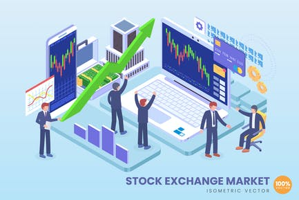 Isometric Stock Exchange Market Vector Concept