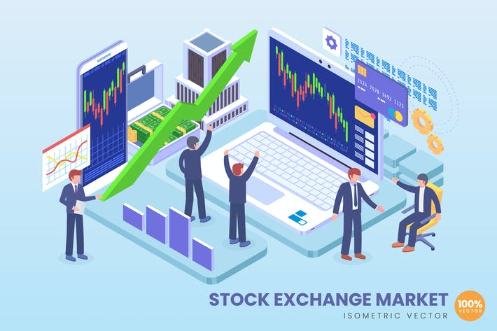 Thumbnail for Isometrische BörsenmarktVektor konzept