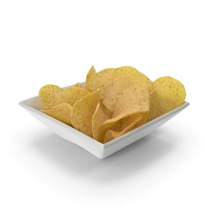 Квадратная чаша с картофельными чип