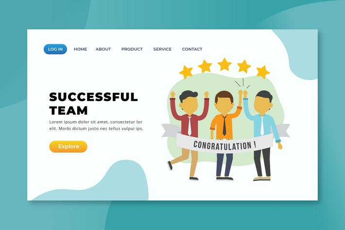 Thumbnail for Successful Team - XD PSD AI Vector Landing Page