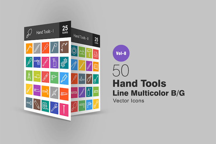 Cover Image For 50 Hand Tools Line Multicolor B/G Icons