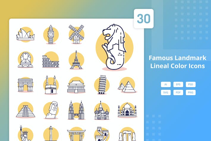 Thumbnail for Famous Landmark - Lineal Color Icons