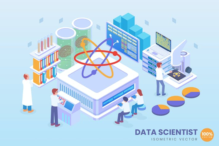 Thumbnail for Isometric Data Scientist Vector Concept