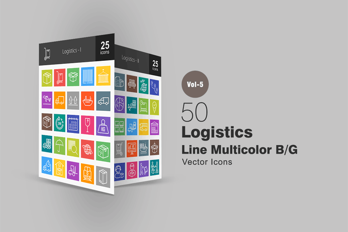 50 Logistics Line Multicolor Icons