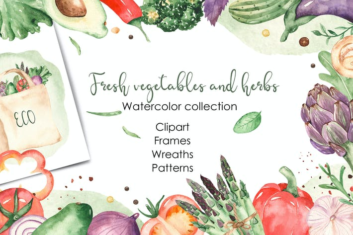 Thumbnail for Watercolor vegetables and herbs Collection clipart