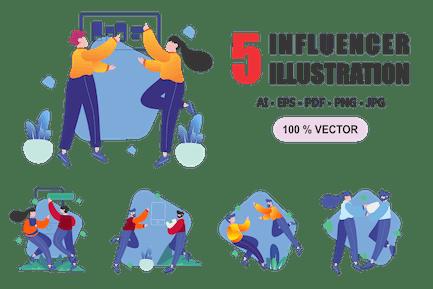 Influencer - Flat Design Illustrations