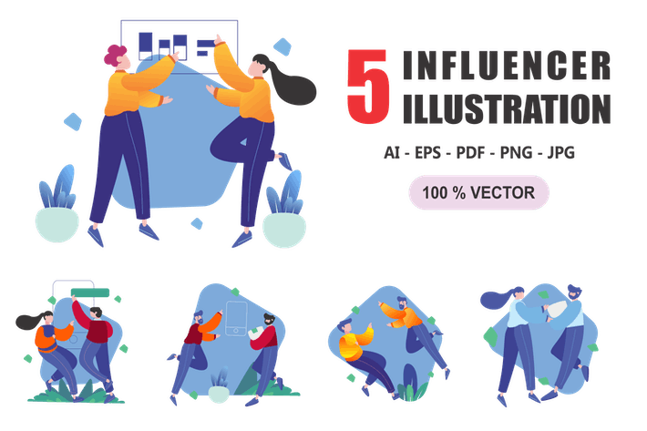 Thumbnail for Influencer - Flat Design Illustrations