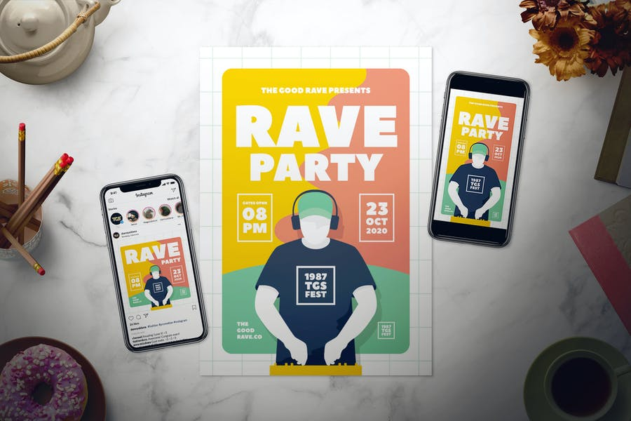 Rave Party Flyer Set