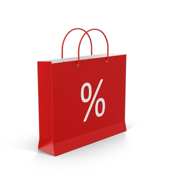 Thumbnail for Red Shopping Bag With Percent Label