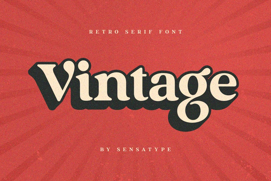 Vintage - Fuente Retro Con serifa